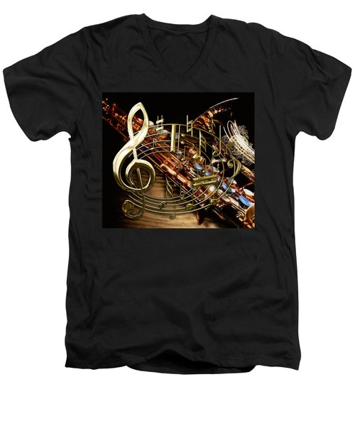 Musical Collection Men's V-Neck T-Shirt by Marvin Blaine