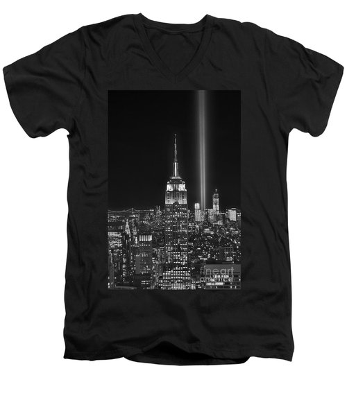 New York City Tribute In Lights Empire State Building Manhattan At Night Nyc Men's V-Neck T-Shirt by Jon Holiday