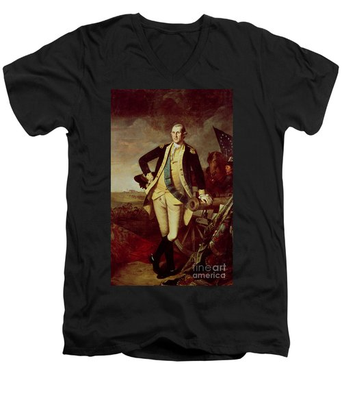 Portrait Of George Washington Men's V-Neck T-Shirt by Charles Willson Peale