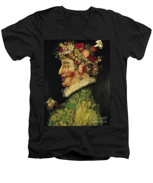 Spring Men's V-Neck T-Shirt by Giuseppe Arcimboldo