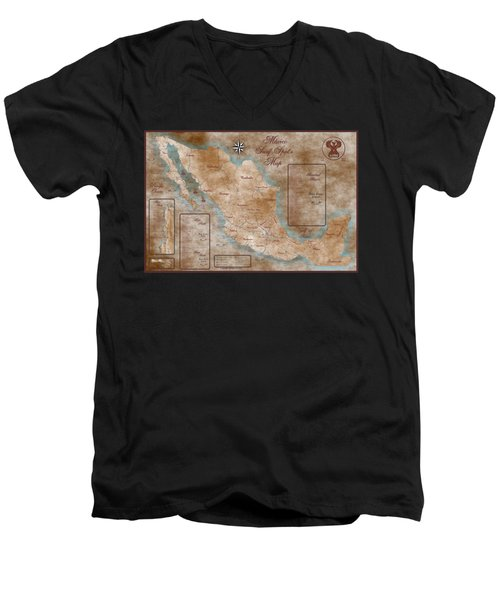 Mexico Surf Map  Men's V-Neck T-Shirt by Lucan Hirales