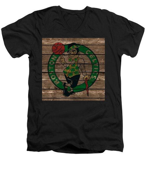 The Boston Celtics 1e Men's V-Neck T-Shirt by Brian Reaves