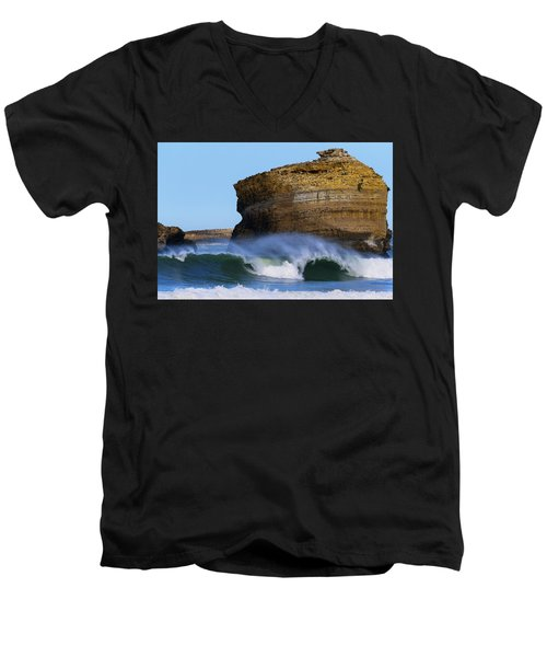 Men's V-Neck T-Shirt featuring the photograph The Wave by Thierry Bouriat