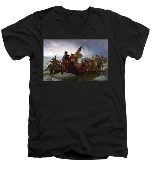 Washington Crossing The Delaware Men's V-Neck T-Shirt by Emanuel Leutze
