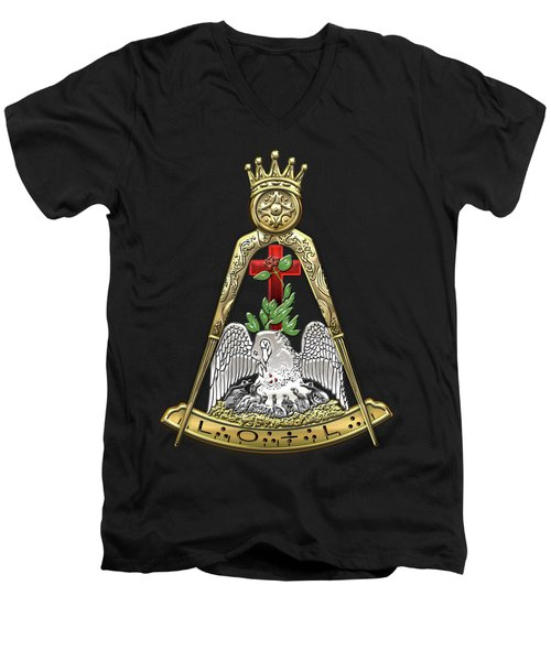 18th Degree Mason - Knight Rose Croix Masonic Jewel  Men's V-Neck T-Shirt by Serge Averbukh