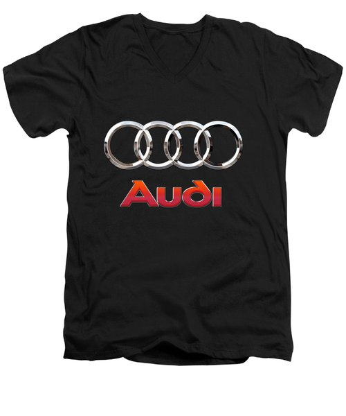 Audi - 3 D Badge On Black Men's V-Neck T-Shirt by Serge Averbukh