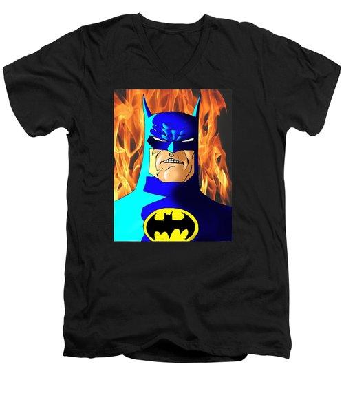 Old Batman Men's V-Neck T-Shirt by Salman Ravish