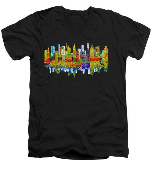New York Men's V-Neck T-Shirt by John Groves