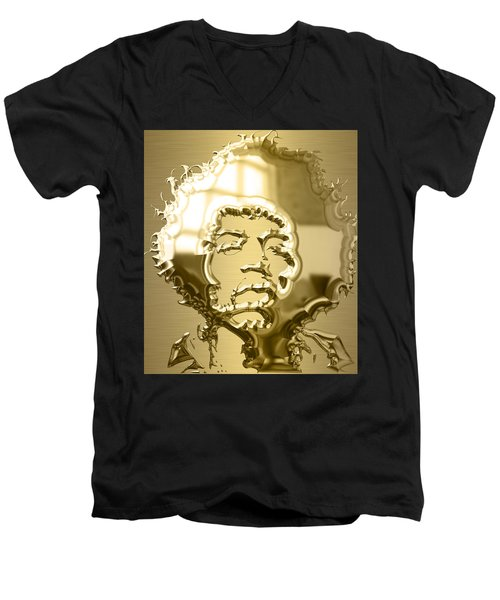 Jimi Hendrix Collection Men's V-Neck T-Shirt by Marvin Blaine