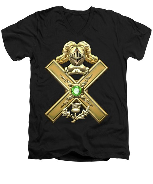29th Degree Mason - Scottish Knight Of Saint Andrew Masonic Jewel  Men's V-Neck T-Shirt by Serge Averbukh