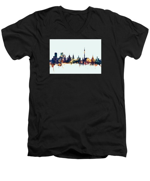 Moscow Russia Skyline Men's V-Neck T-Shirt by Michael Tompsett