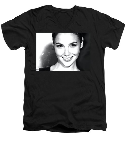 Gal Gadot Print Men's V-Neck T-Shirt by Best Actors