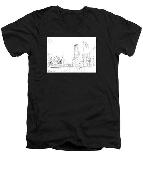 5.2.japan-1-tokyo-skyline Men's V-Neck T-Shirt by Charlie Szoradi