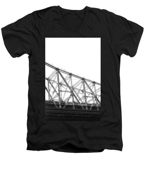 59th Street Bridge, Black And White Men's V-Neck T-Shirt by Sandy Taylor