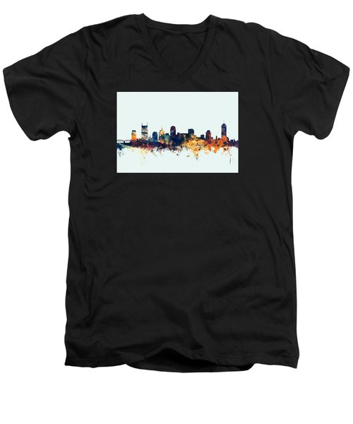 Nashville Tennessee Skyline Men's V-Neck T-Shirt by Michael Tompsett