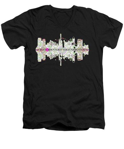 Tokyo Skyline Men's V-Neck T-Shirt by John Groves