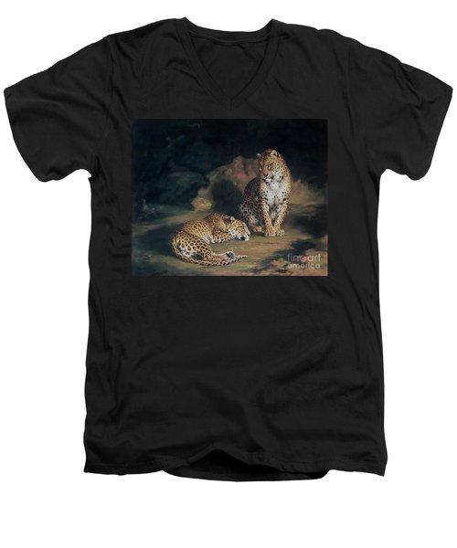 A Pair Of Leopards Men's V-Neck T-Shirt by William Huggins