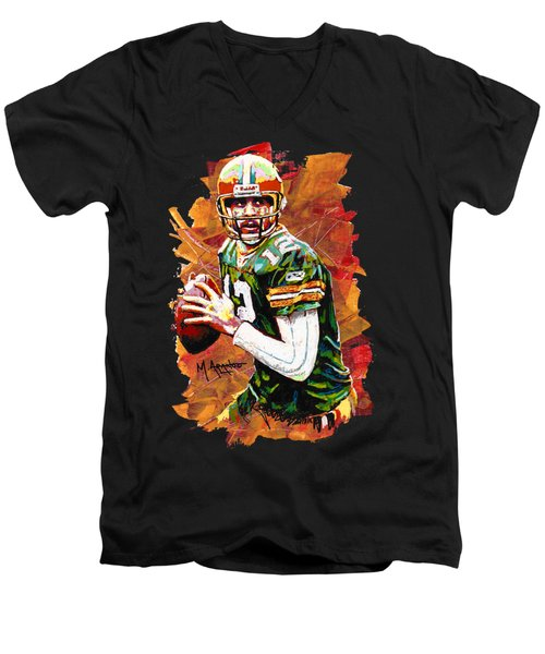 Aaron Rodgers Men's V-Neck T-Shirt by Maria Arango