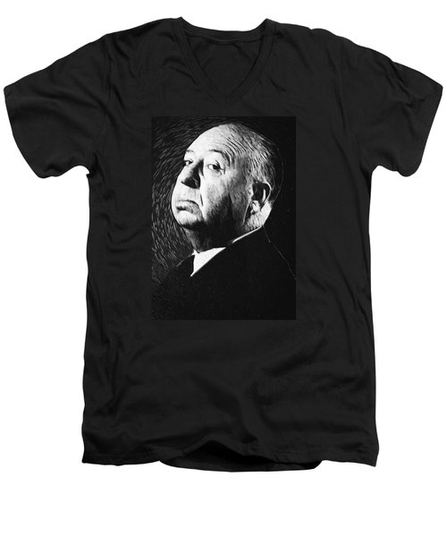 Alfred Hitchcock Men's V-Neck T-Shirt by Taylan Apukovska