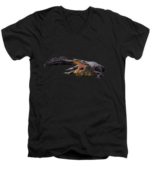 Alligator In Florida Men's V-Neck T-Shirt by Zina Stromberg