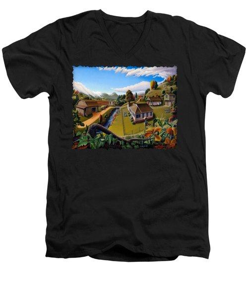 Appalachia Summer Farming Landscape - Appalachian Country Farm Life Scene - Rural Americana Men's V-Neck T-Shirt by Walt Curlee