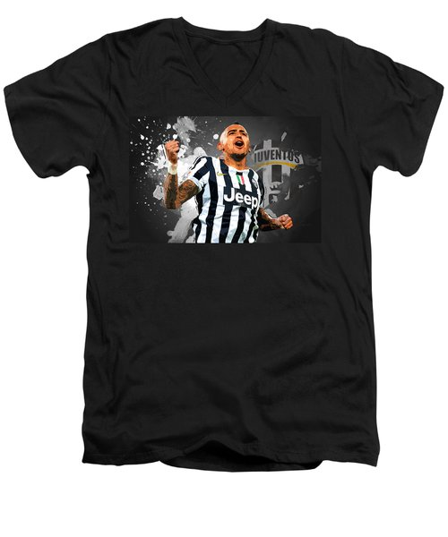 Arturo Vidal Men's V-Neck T-Shirt by Semih Yurdabak