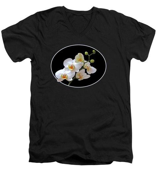 White Orchids On Black Men's V-Neck T-Shirt by Gill Billington