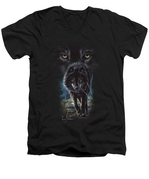 Black Wolf Hunting Men's V-Neck T-Shirt by Lucie Bilodeau