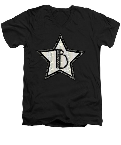 Star Of The Show Art Deco Style Letter B Men's V-Neck T-Shirt by Cecely Bloom