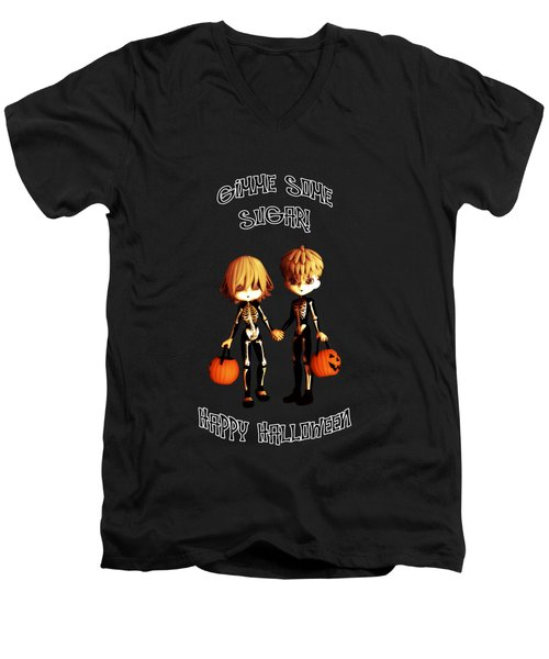 Skeleton Twinz Halloween Men's V-Neck T-Shirt by Methune Hively