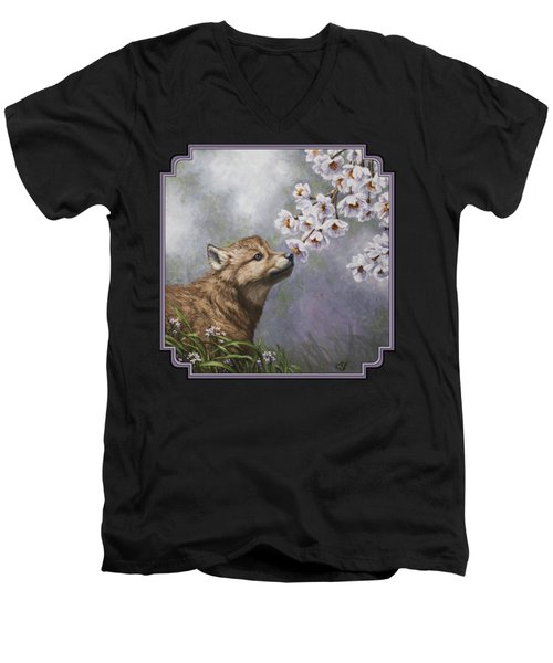 Wolf Pup - Baby Blossoms Men's V-Neck T-Shirt by Crista Forest
