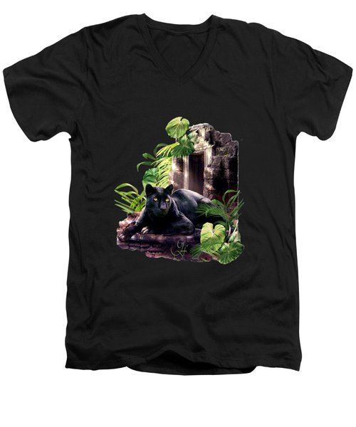 Black Panther Custodian Of Ancient Temple Ruins  Men's V-Neck T-Shirt by Regina Femrite