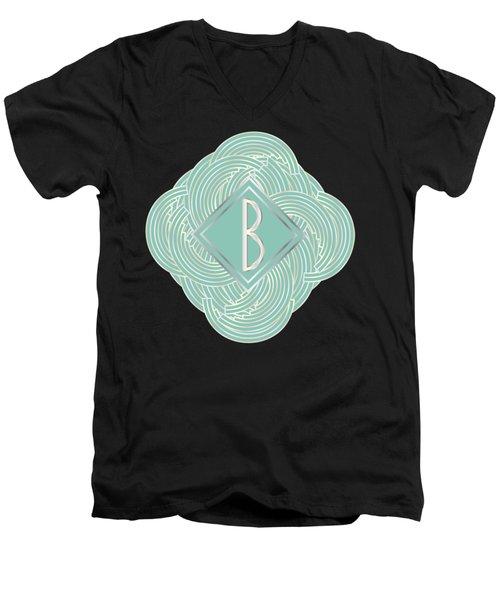 1920s Blue Deco Jazz Swing Monogram ...letter B Men's V-Neck T-Shirt by Cecely Bloom