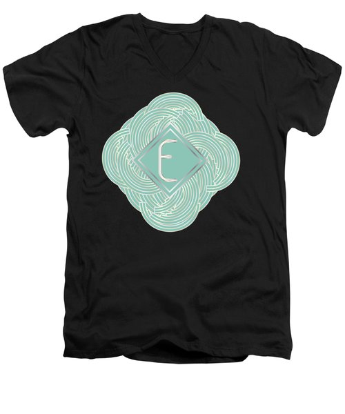 1920s Blue Deco Jazz Swing Monogram ...letter E Men's V-Neck T-Shirt by Cecely Bloom