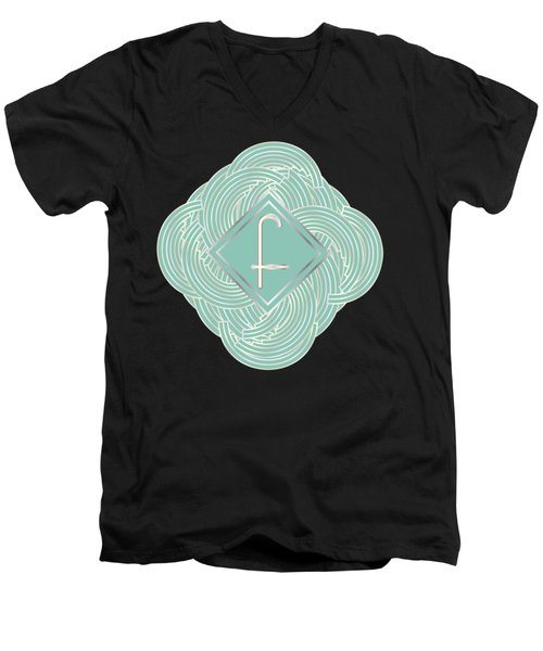 1920s Blue Deco Jazz Swing Monogram ...letter F Men's V-Neck T-Shirt by Cecely Bloom