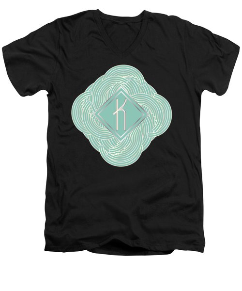 1920s Blue Deco Jazz Swing Monogram ...letter K Men's V-Neck T-Shirt by Cecely Bloom