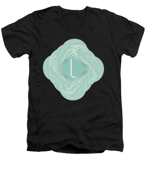 1920s Blue Deco Jazz Swing Monogram ...letter L Men's V-Neck T-Shirt by Cecely Bloom