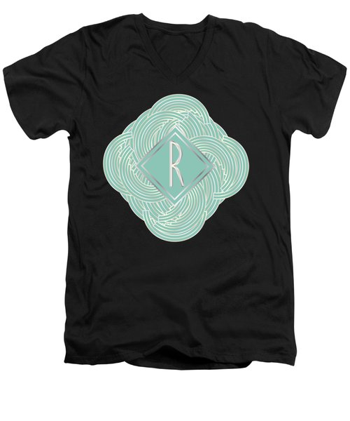 1920s Blue Deco Jazz Swing Monogram ...letter R Men's V-Neck T-Shirt by Cecely Bloom