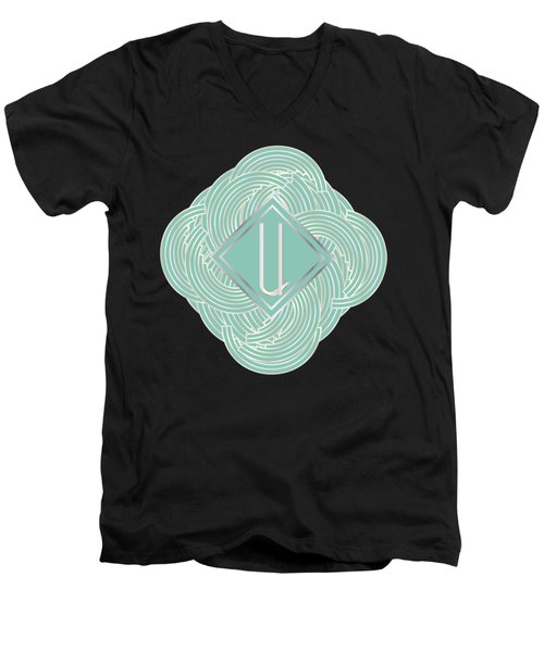 1920s Blue Deco Jazz Swing Monogram ...letter U Men's V-Neck T-Shirt by Cecely Bloom