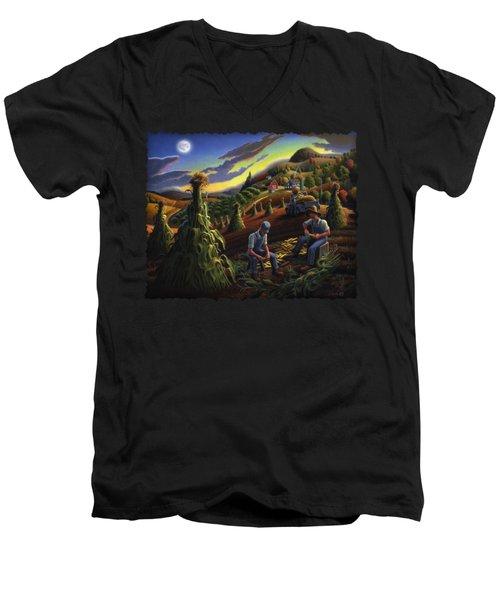 Autumn Farmers Shucking Corn Appalachian Rural Farm Country Harvesting Landscape - Harvest Folk Art Men's V-Neck T-Shirt by Walt Curlee