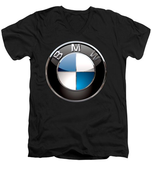 B M W - 3d Badge On Black Men's V-Neck T-Shirt by Serge Averbukh