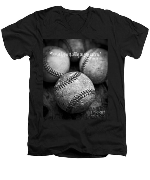 Babe Ruth Quote Men's V-Neck T-Shirt by Edward Fielding