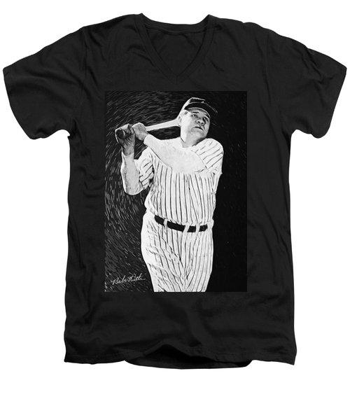 Babe Ruth Men's V-Neck T-Shirt by Taylan Apukovska