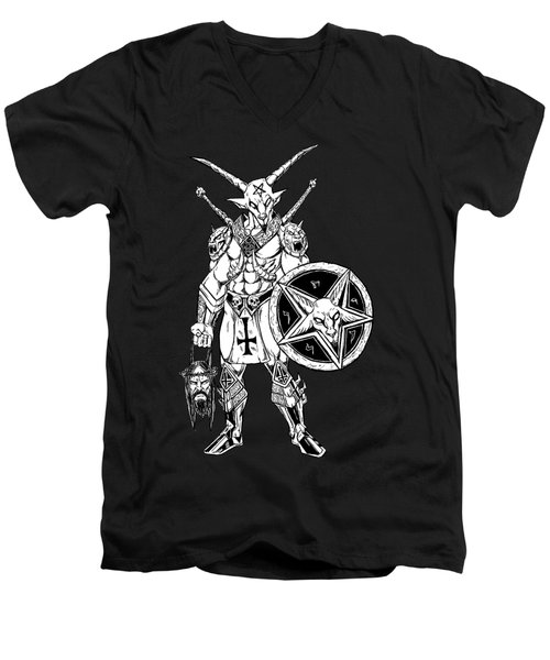 Battle Goat Black Men's V-Neck T-Shirt by Alaric Barca