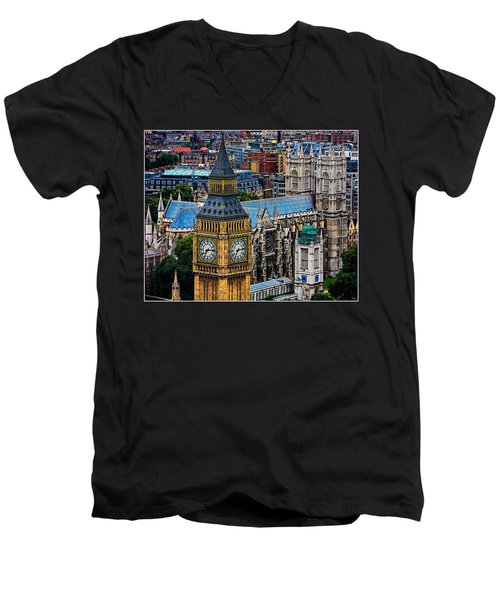 Big Ben And Westminster Abbey Men's V-Neck T-Shirt by Chris Lord