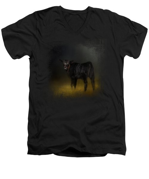 Black Angus Calf In The Moonlight Men's V-Neck T-Shirt by Jai Johnson