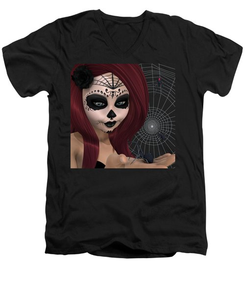 Black Widow Sugar Doll Men's V-Neck T-Shirt by Methune Hively