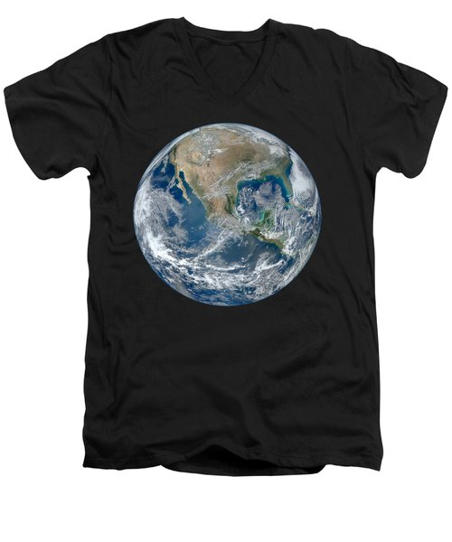 Blue Marble 2012 Planet Earth Men's V-Neck T-Shirt by Nikki Marie Smith