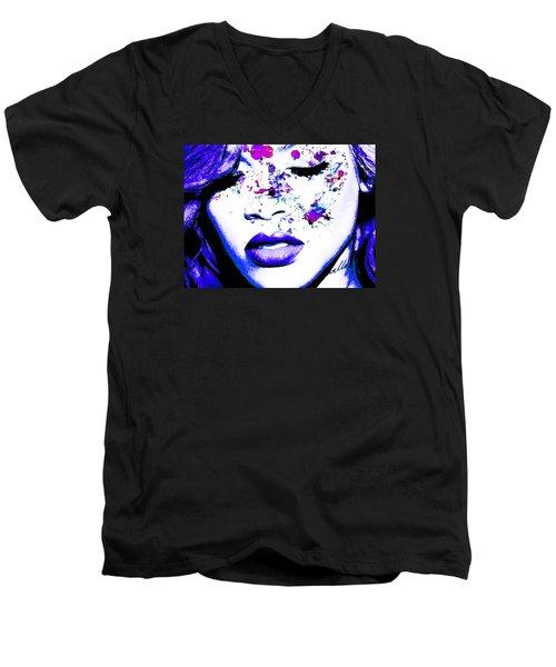 Blue Rihanna Men's V-Neck T-Shirt by Alex Antoine