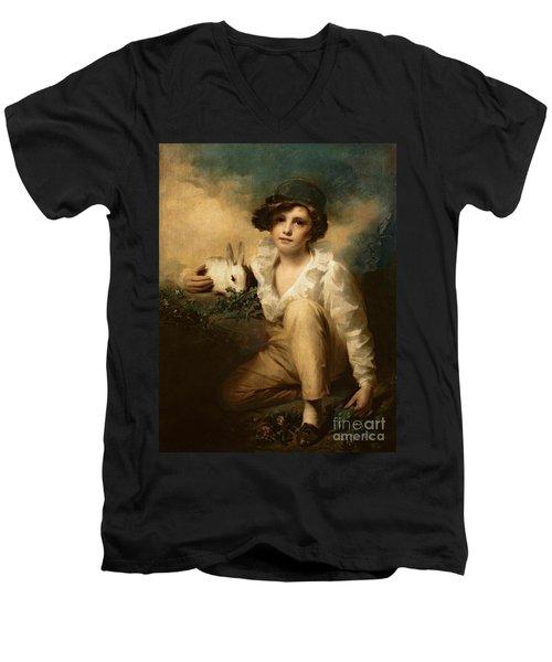 Boy And Rabbit Men's V-Neck T-Shirt by Sir Henry Raeburn